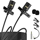Premium 196' Dual-Head Lavalier Microphone, Professional Lapel Clip-on Omnidirectional Condenser Mic for Apple iPhone,Android,PC,Recording YouTube,Interview,Video Conference,Podcast