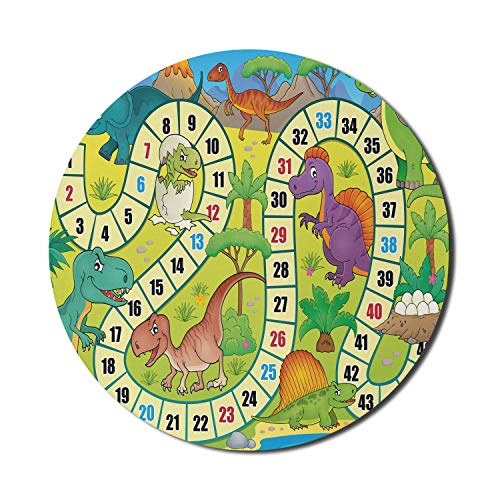 Rundes Mauspad, Brettspiel-Mauspad für Computer, Dinosaurier, Dschungelzahl, gewellte Linie, prähistorische Fauna, Wildtierkomposition, runde, rutschfeste Gummi-Basis, Mauspad, mehrfarbiges Mauspad