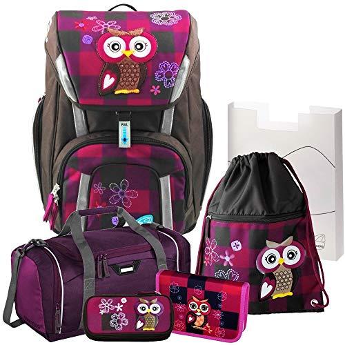 Olivia The OWL Toolbag SMART Schulranzen-Set 6-TLG. Eule Schneiders mit GEFÜLLTER FEDERMAPPE und Sporttasche mit NASSFACH - 78320-051
