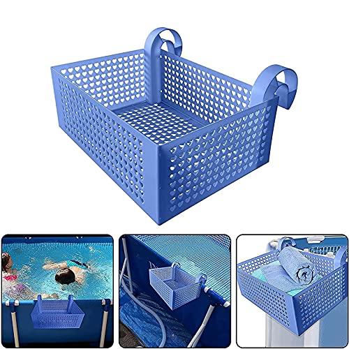 AHURGND Cesta de almacenamiento de la piscina colgante, cesta de almacenamiento para piscina enmarcada, 11lb Capacidad de carga grande para colgar Piscina Cesta de almacenamiento, Cesta de almacenamie