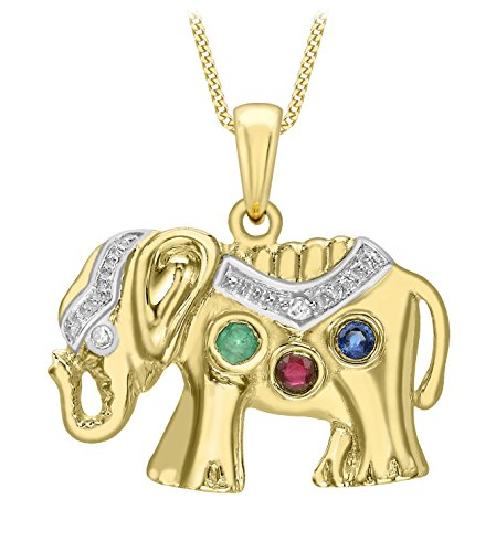 Carissima Gold 9 ct Yellow Gold Diamond, Sapphire, Emerald and Ruby Elephant Pendant on Chain Necklace of 46 cm/18 inch