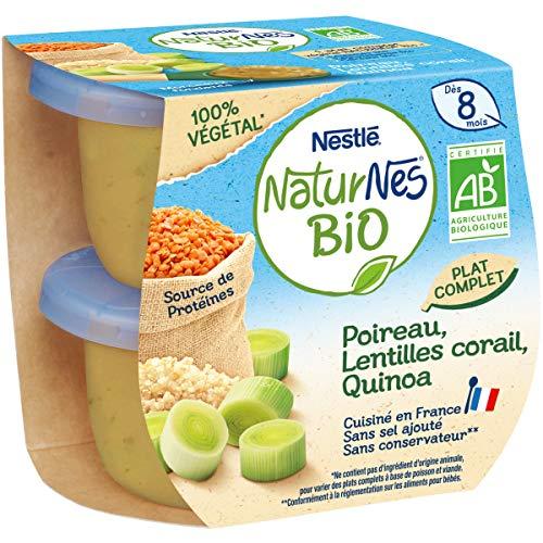 NESTLE NATURNES BIO Petits Pots Bébé Poireau, Lentilles Corail, Quinoa Bio- 2x190g - Dès 8 mois