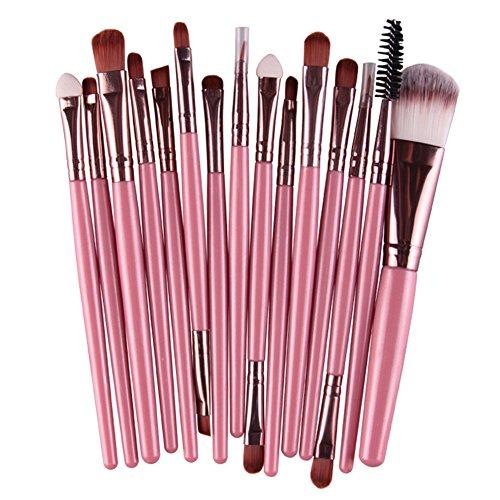 Akaddy 15pcs Fard à paupières Maquillage pinceaux Outil Poudre pour Les Yeux Pinceau Ensemble (café Rose)