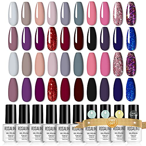 ROSALIND Smalto per Unghie, 20 Colori Gel Unghie UV, 24 pz Smalto Semipermente per Unghie in Gel Unghie UV, Base e Top Coat Matt Coat Manucure Nail Art Kit 7ml