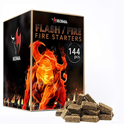 Kona Flash/Fire Fire Starter Cubes  Natural 144 pcs for BBQ Grills Campfires Charcoal Fire Pits Survival