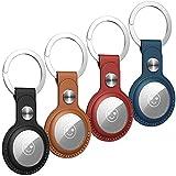 Benazcap 4 Stück Schutzhülle aus PU-Leder für AirTags Schlüsselfinder (Locator Tracker), Mini...