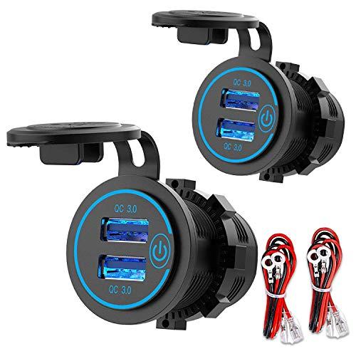 Huante Toma de Corriente USB de 12 V, Toma de Corriente USB Dual de Carga RáPida 3.0 con Interruptor de PresióN, Toma de Cargador USB de Carga Impermeable [Paquete de 2]