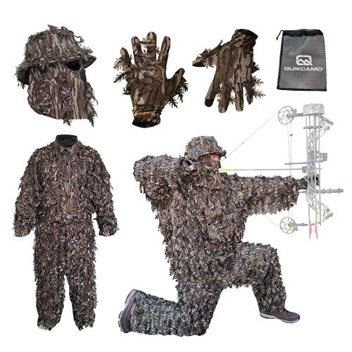 QuikCamo Leafy Suit Camo Face Mask - Plus Leafy Gloves, Mossy Oak Original Bottomland Camo (XXL/3XL Suit, OSFM Hat, Stretch Fit Gloves)
