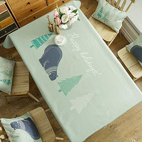 Nappe imperméable coton lin tissu nordique minimaliste antipoussière Rectangle Table Cover lavable nappe Dîner Cuisine Home Decor (taille : 130 * 180cm)