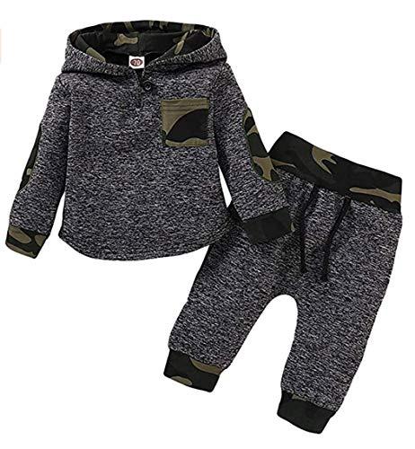 WonderBabe Baby Sportbekleidung Jungen Kleidung Anzug langärmelige Kapuze Kariertes T-Shirt und Hose Schwarz Alter 6-12 Monate
