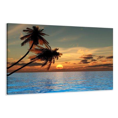 Bild auf Leinwand Strand 120 x 80 cm Modell-Nr. XXL 5144 Bilder fertig gerahmtauf echtem Holzrahmen riesig. Ausführung Kunstdruck als Wandbild auf Rahmen. Günstiger als Ölbild Gemälde Poster Plakat mit Bilderrahmen.