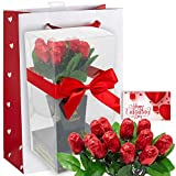 Chocolate Flower Bouquet | One Dozen Red Sweetheart Roses | Individually Wrapped in Foils Belgian Milk Chocolate | Valentine Day Gift Bag | Her Wife Girlfriend (LOVE)
