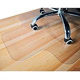GIOVARA - Alfombrilla transparente para silla con borde para suelos duros, 90 x 120 cm, alta resistencia al impacto, antideslizante, material no reciclado