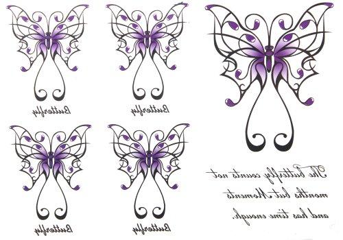 Dernières nouvelles 2012 hommes de conception de vente chauds et imperméables à l'eau de tatouage autocollants femmes papillon anglais tatouages faux