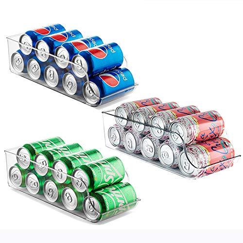 Set of 3 Refrigerator Organizer,Drink Soda Can Beverage Food Clear Plastic Holder for Fridge Freezer Cabinets Cupboard Kitchen …