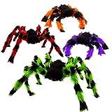 SAVITA 4 Piezas Arañas Peludas de Miedo de Halloween con Ojos Rojos Decoraciones de Araña de Halloween Arañas Falsas Decoraciones Espeluznantes para Halloween (Color Aleatorio)