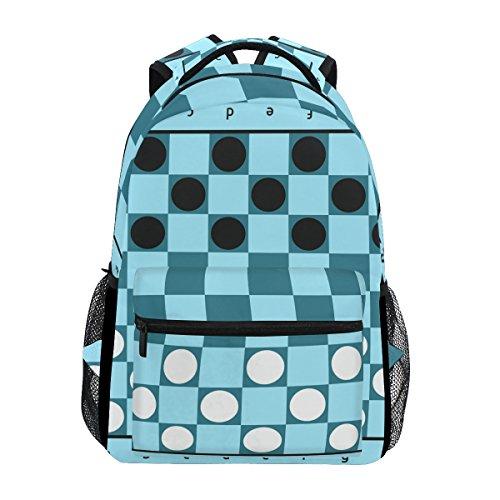 TIZORAX Checkers Game Blue Board Backpack School Bag Bookbag Hiking Travel Rucksack