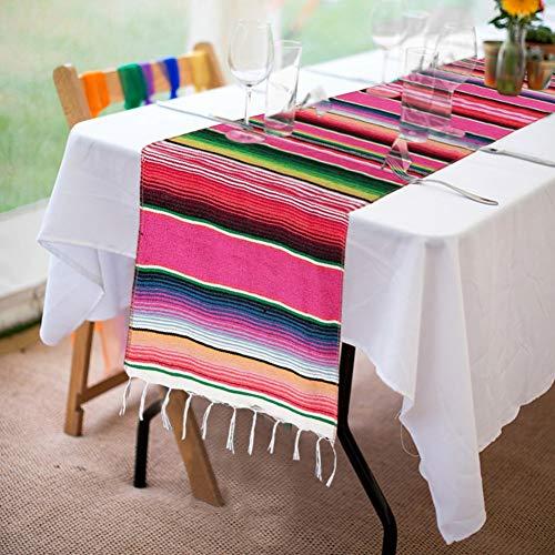 Chemin de table de style mexicain, Longue rayure de table mexicaine anti-poussière mexicain Décoration de fête de mariage 14 * 79 pouces