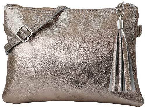 SH Leder Echtleder Umhängetasche Clutch kleine Tasche Abendtasche 22x15cm Anny G248 (Bronze)