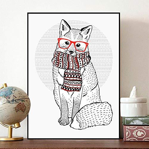 tzxdbh De schattige vos, de retro sjaal dierposter canvas schilderij kunst wanddecoratie De hippie glazen dragen, kan speciaal gemaakt worden24X36