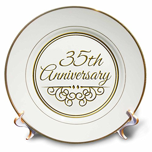 3dRose cp_154477_1 35Th Gold Text for Celebrating Wedding Anniversaries 35 Years Married Together Porcelain Plate, 8-Inch