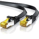 Cable de Red Cat.7 - 7,5 metros Plano - Cable Ethernet -Gigabit Lan 10 Gbit s -Cable de Conexión - Cable Plano- Cable de Instalación - Cable en Bruto Cat 7 Apantallamiento U FTP con Conector RJ45