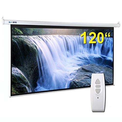 BPS Electric Motorised 120' 16:9 Projector Screen Full HD/3D Matt White + Remote Control TV DVD Home Cinema