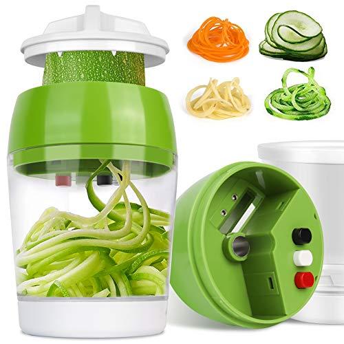 Cortador de Verduras Picadora Manual Cortador de Verdura, 4 en 1 espiralizador de mano en espiral para verduras con contenedor, Espaguetis de Calabacin, Cortador Espiral Manual,Pelador