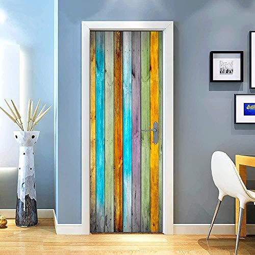 Ejiawj Murales para Puertas 95 X 215 cm Color Madera Simple Ejiawje 3D Door Stickers Impermeable Vinilo DIY Adhesivo Decorativo Autoadhesivo De Pegatinas De Pared Decoración De Hogar Arte Moderno Do