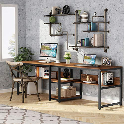 Tribesigns Two Person Desk with Bookshelf, 78.7 Computer Office Double Desk for Two Person, Rustic Writing Desk Workstation with Shelf for Home Office (Rustic)