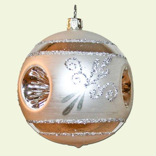 Lauschaer Glaskunst-Christbaumkugel Reflexkugel Esprit 8 cm (Silber, 6 Stück)