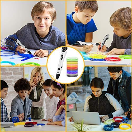 3D Stift Set für Kinder mit PLA Filament 12 Farben -【Neueste Version 2018】3D Stifte mit PLA Farben 120 Fuß und 250 Schablonen eBook, Dikale 07A 3D Pen als kreatives Geschenk für Erwachsene, Bastler zu kritzeleien, basteln, malen und 3D drücken - 5