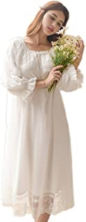 Women's Victorian Nightgown Vintage Sleepwear Lace Chemise Lounge Dress Pajamas