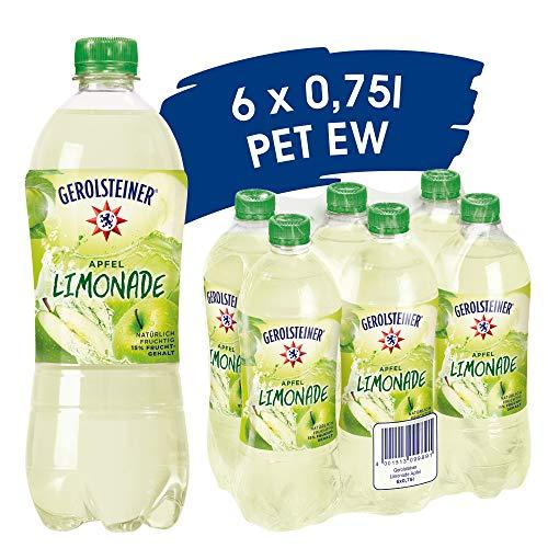 Gerolsteiner Apfel-Limonade / Angenehm prickelndes, natürliches Mineralwasser mit fruchtigem Apfelgeschmack / 6 x 0,75 L PET Einweg Flaschen, 6 Stück
