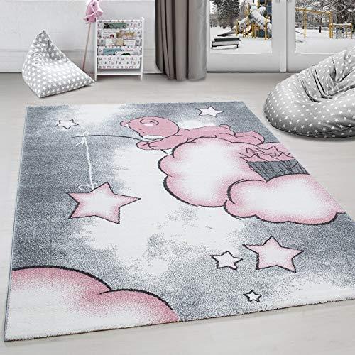 Alfombra infantil para habitación infantil, diseño de oso, nubes y estrellas, 160 x 230 cm, color gris, blanco y rosa