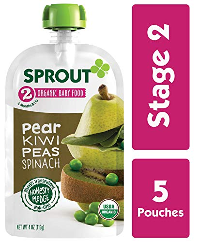 Sprout Organic Stage 2 Baby Food Pouches, Pear Kiwi Peas Spinach, 4 Ounce (Pack of 5)