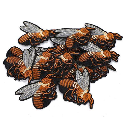 20 piezas de apliques con motivos bordados, 2.8 x 2.8 pulgadas, patrones especiales, brillantes, bricolaje, manualidades, costura, abrigos de abejas para zapatos