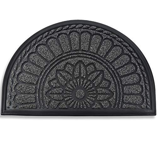 Mibao Half Round Door Mat, Non-Slip Welcome Entrance Way Rug, Durable Low-Profile Easy to Clean Front Outdoor Heavy Duty Doormat, 24' x 36', Coffee