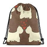 orangefruit Mignon et Beau West Highland Terrier Couples avec Coeurs Cordon Sac à Dos Sac à Dos Gymnase Sac de Danse Sac à Dos pour la randonnée Plage Sacs de Voyage