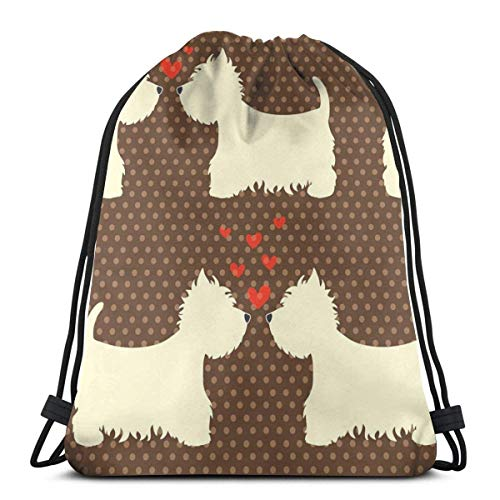 Elsaone Nette und schöne West Highland Terrier Paare mit Herzen Kordelzug Rucksack Tasche WomenandMen Sport Gym Bag