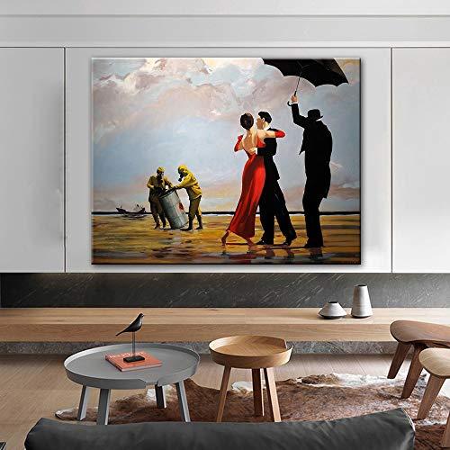 wojinbao DIY Digitale Malerei-Tanzen Edward Hopper Leinwandbilder Abstrakte Street Art Leinwand Poster und Drucke Moderne Graffiti Wandkunst Bild Home Decor(40x50cmKein Rahmen)