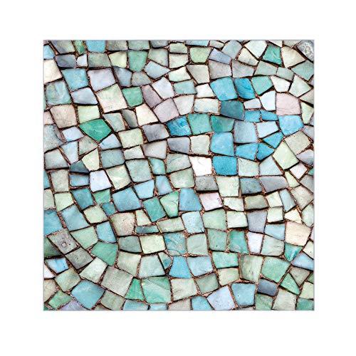 banjado Glasplatte für IKEA Lack Tisch 55x55cm   Abdeckplatte aus Sicherheitsglas   Motiv Mosaik Blau   Tischplatte für Beistelltisch, Couchtisch schwarz Glasplatte