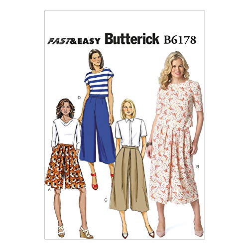 BUTTERICK PATTERNS B6178E50 Misses' Culottes Sewing Template, E5 (14-16-18-20-22)
