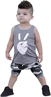 LNGRY Baby Clothes,Toddler Baby Boys Letter Print Handsome T-Shirt Tank Tops Vest+Shorts Outfits Set