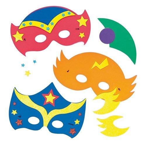 """Baker Ross AF532 Moosgummi-Bastelsets """"Superheldenmaske"""" für Kinder zum Dekorieren und als kleine Party-Überraschung (4 Stück) -ideal zum Kindergeburtstag und Karneval, Sortiert, Assorted, 4 Pack"""