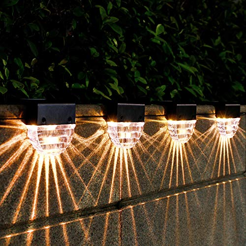 6 Pack Solar Deck Lights Outdoor, Solar Deck Lights Waterproof Led Solar Powered Outdoor Lights, Solar Step Fence Post Lights for Yard, Pool, Patio, Stair, White Lighting/7 Changing Color Lighting