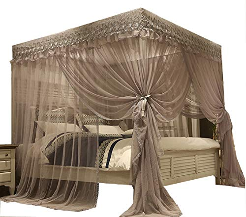 Mengersi Elegant Bed Canopy Mosquito Net,4 Corners Post Bed Drapes Curtains for King Size(Gray)