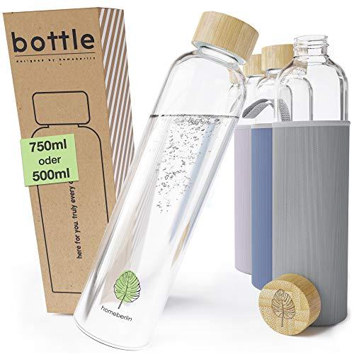 HOMEBERLIN® Premium Glasflasche in 500ml & 750ml mit Schutzhülle - Trinkflasche aus Glas für unterwegs mit Bambusdeckel - Wasserflasche für Sport, Büro und Kinder in Geschenkbox