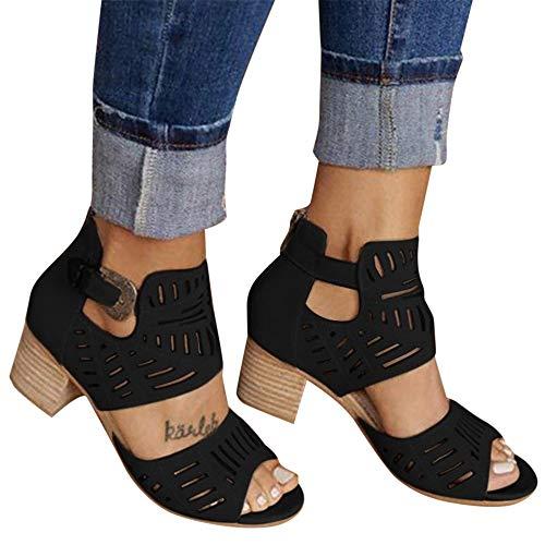Aniywn New Sandals Women's Peep Toe Cut Out Chunky Stacked Block Heel Ankle Booties Open Toe Mid Heel Sandals Black