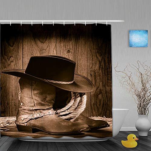 JIOLK Personalisierter Duschvorhang,Amerikanischer West Rodeo Cowboy schwarzer Filzhut auf abgenutzten Westernstiefeln und Sporen,wasserabweisender Badvorhang für das Badezimmer 180 x 210 cm